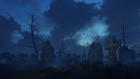 Verlaten griezelige begraafplaats bij nevelige nacht royalty-vrije illustratie