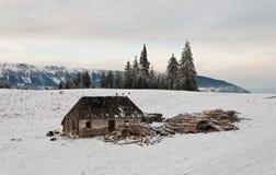 Verlaten houten plattelandshuisje in de berg Stock Foto's