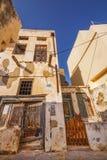 23 06 2016 - Verlaten huizen in de oude stad van Naxos Royalty-vrije Stock Foto