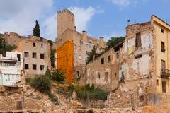 Verlaten huizen in Spaanse stad Stock Foto's
