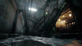 Verlaten industrieel binnenland in donkere kleuren met het gloeien lichten stock video
