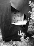 Verlaten leerlaag in tuin Stock Afbeeldingen