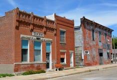 Verlaten Main Street van Bridgewater, Iowa Royalty-vrije Stock Afbeelding