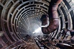 Verlaten metrotunnel in Kiev, de Oekraïne Stock Afbeelding