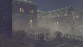 Verlaten middeleeuws herenhuis bij nacht royalty-vrije illustratie