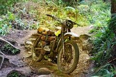 Verlaten motorfiets in bos stock afbeelding
