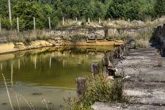 Verlaten openluchtmineraalwaterbassin in Balvanyos, Roemenië Royalty-vrije Stock Foto