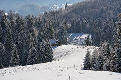 Verlaten oud sheepfold in het begin behandeld in sneeuw van de winter Royalty-vrije Stock Fotografie