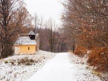 Verlaten oude kerk in de winter Stock Fotografie