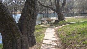 Verlaten park in de lente stock video