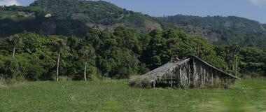 Verlaten plattelandshuisje of hut op het landbouwgebied royalty-vrije stock afbeelding