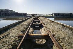 Verlaten roestige mijnspoorweg naast rivier royalty-vrije stock fotografie