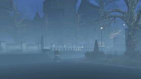 Verlaten somber park bij nevelige nacht royalty-vrije illustratie