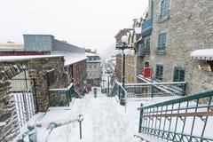 Verlaten straat in de Stad Champlain van Quebec stock foto