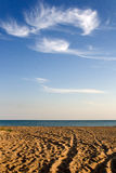 Verlaten strand met sporen Stock Fotografie