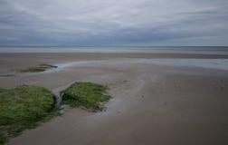 Verlaten strand met uit getijde Royalty-vrije Stock Foto