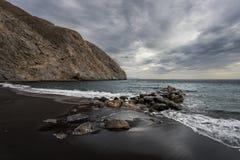 Verlaten stranden van het Eiland Santorini Griekenland stock foto