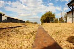 Verlaten treinenspoorwegen Stock Foto's