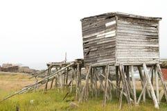 Verlaten vissenkeet, Newfoundland stock afbeelding