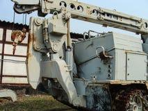 Verlaten voertuigen betrokken bij verwijdering van het ongeval van Tchernobyl stock foto