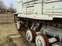 Verlaten voertuigen betrokken bij verwijdering van het ongeval van Tchernobyl royalty-vrije stock foto's