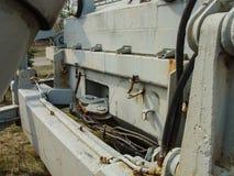 Verlaten voertuigen betrokken bij verwijdering van het ongeval van Tchernobyl stock fotografie