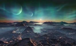 Verlaten vreemde planeet royalty-vrije stock afbeelding