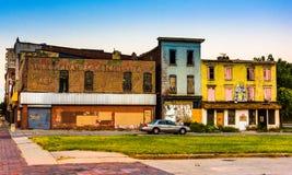 Verlaten winkels bij Oude Stadswandelgalerij, in Baltimore, Maryland stock afbeeldingen