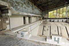 Verlaten zwembad in de stad van Pripyat Royalty-vrije Stock Fotografie