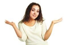 Verlegene junge Frau lizenzfreie stockfotografie