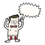 verlegener Mann der Karikatur in den Unterhosen Stockfotografie