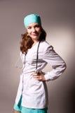 Verleidelijke jonge arts met endoscoop Stock Afbeeldingen