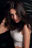 Verleidelijke make-up donkerbruine vrouw met lang haar in witte hoogste posi stock afbeeldingen