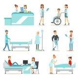 Verletzte und kranke Patienten im Krankenhaus, das ärztliche Behandlung bekommt vektor abbildung