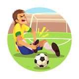 Verletzter Fußball-Spieler Lizenzfreie Stockbilder
