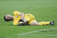 Verletzter Fußballspieler Lizenzfreie Stockfotografie