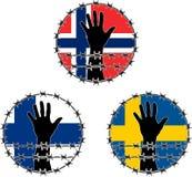 Verletzung der Menschenrechte auf Skandinavier Stockbild
