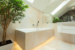 Verlicht bathtube in moderne badkamers Royalty-vrije Stock Fotografie