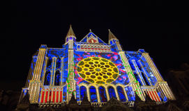 Verlicht Onze Dame van de kathedraal van Chartres, Frankrijk Royalty-vrije Stock Afbeelding