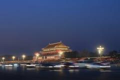 Verlicht Paleismuseum bij nacht, Peking, China royalty-vrije stock foto