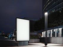 Verlichte banner op nacht en commercieel centrum op achtergrond het 3d teruggeven stock illustratie
