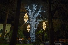 Verlichte boom in een openbaar park in Kerstmistijd, Italië stock fotografie