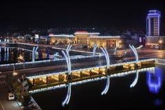 Verlichte brug in stadscentrum, Zhangjiakou, China Royalty-vrije Stock Fotografie