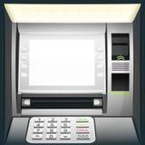 Verlichte contant geldmachine met het lege witte scherm royalty-vrije illustratie
