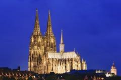 Verlichte kathedraal Keulen Royalty-vrije Stock Fotografie