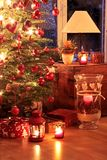 Verlichte Kerstboom Stock Foto