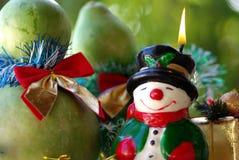 Verlichte Kerstmissneeuwman Stock Fotografie