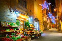 Verlichte Kerstmisstraat in Florence royalty-vrije stock afbeeldingen