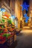 Verlichte Kerstmisstraat in Florence royalty-vrije stock afbeelding