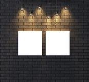 Verlichte lege kaderspot omhoog op donkere bakstenen muur 3d illustrat Royalty-vrije Stock Afbeeldingen